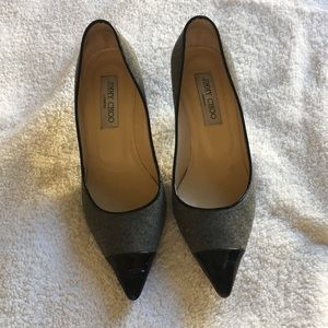 Jimmy Choo Grey Flannel/Black Patent Leather heels